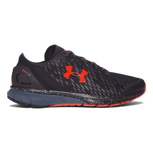 Mens Under Armour Charged Bandit 2 Night Running Shoe - Black/Grey/Orange 14