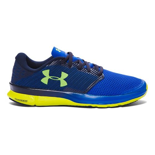 Mens Under Armour Charged Reckless Running Shoe - Ultra Blue/Yellow 10.5