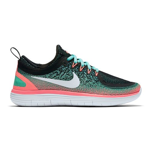 Womens Nike Free RN Distance 2 Running Shoe - Turquoise/Lava 10