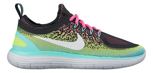 Womens Nike Free RN Distance 2 Running Shoe - Black/Volt 9