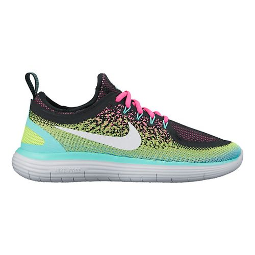 Womens Nike Free RN Distance 2 Running Shoe - Black/Volt 8