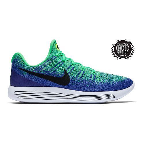 Mens Nike LunarEpic Flyknit 2 Running Shoe - Green/Blue 10