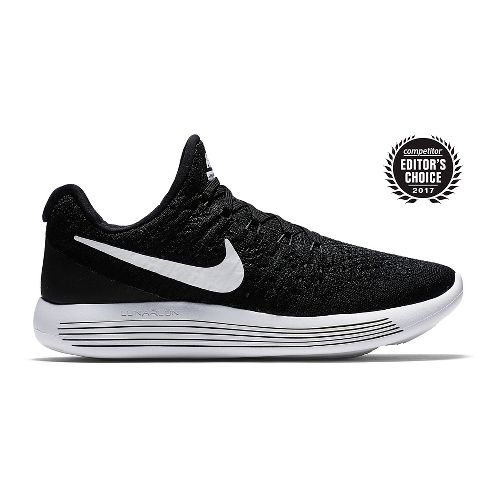 Womens Nike LunarEpic Flyknit 2 Running Shoe - Black/White 10