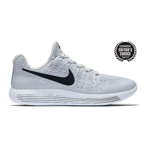 Womens Nike LunarEpic Flyknit 2 Running Shoe - White/Black 10