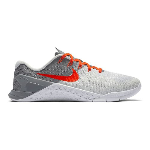 Womens Nike MetCon 3 Cross Training Shoe - Platinum/Crimson 6.5