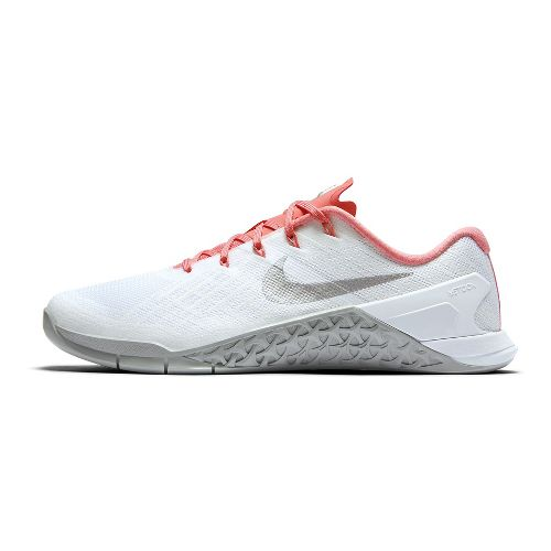Womens Nike MetCon 3 Cross Training Shoe - White/Silver 9
