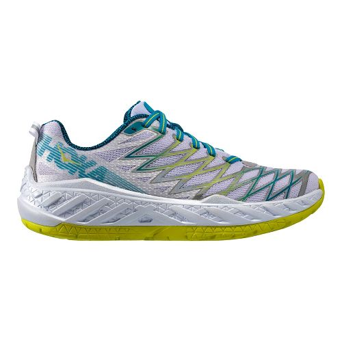 Womens Hoka One One Clayton 2 Running Shoe - White/Green 5