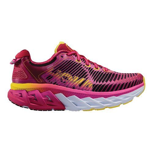 Womens Hoka One One Arahi Running Shoe - Pink/Yellow 9.5