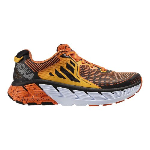 Mens Hoka One One Gaviota Running Shoe - Red Orange/Gold 9