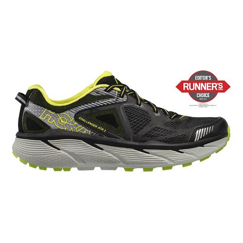 Mens Hoke One One Challenger ATR 3 Trail Running Shoe - Black/Green/Citrus 10.5