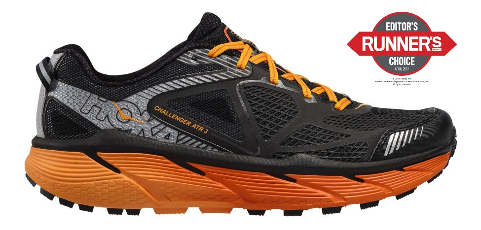 Mens Hoke One One Challenger ATR 3 Trail Running Shoe - Black/Red Orange 8.5