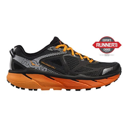 Mens Hoke One One Challenger ATR 3 Trail Running Shoe - Black/Red Orange 9.5