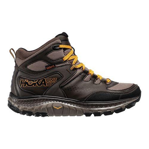 Mens Hoka One One Tor Tech Mid WP Hiking Shoe - Brown/Yellow 8.5