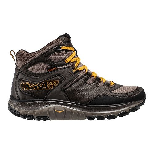 Mens Hoka One One Tor Tech Mid WP Hiking Shoe - Brown/Yellow 9.5
