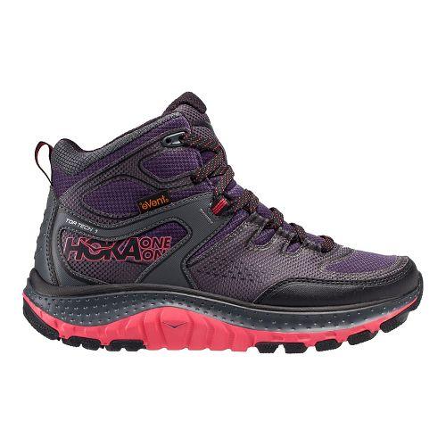 Womens Hoka One One Tor Tech Mid WP Hiking Shoe - Nightshade/Teaberry 7.5