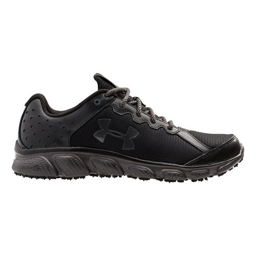 Mens Under Armour Micro G Assert 6 Grit Trail Running Shoe - Black/Charcoal 7.5