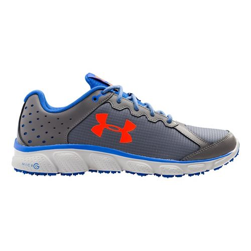 Mens Under Armour Micro G Assert 6 Grit Trail Running Shoe - Graphite/Ultra Blue 14 ...