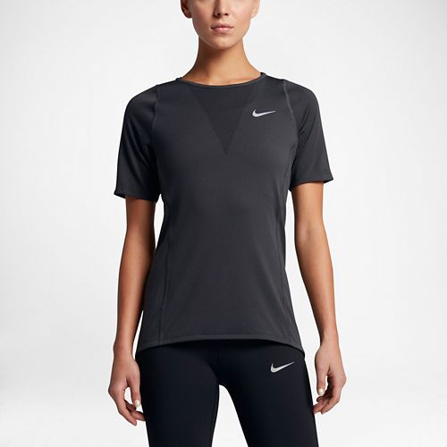 Womens Nike Zonal Cooling Relay Short Sleeve Technical Tops - Black M