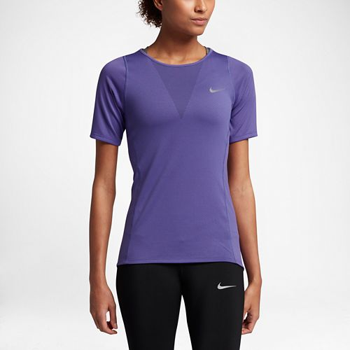 Womens Nike Zonal Cooling Relay Short Sleeve Technical Tops - Dark Iris L