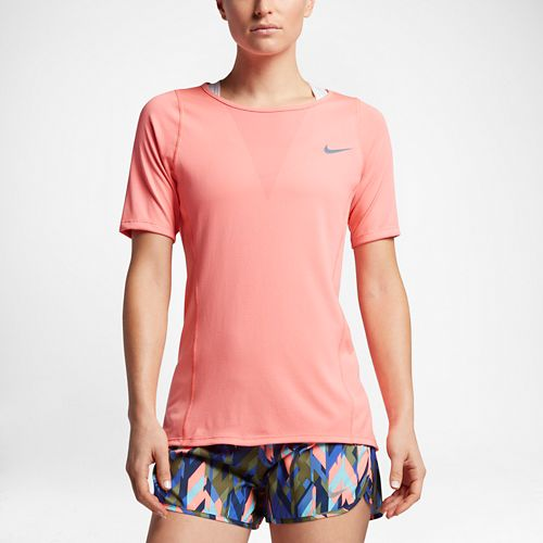 Womens Nike Zonal Cooling Relay Short Sleeve Technical Tops - Bright Melon L