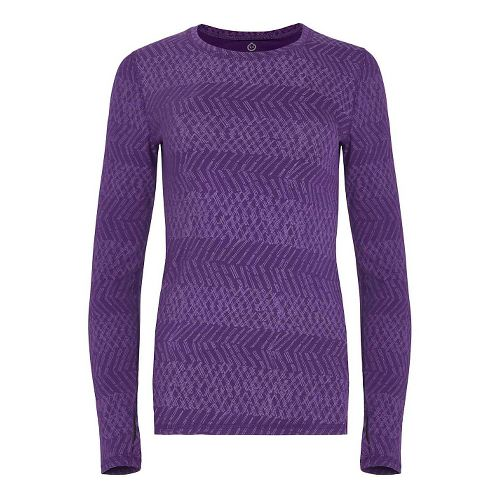 Womens Tasc Performance Hybrid Fitted Print Long Sleeve Technical Tops - Dash Plumberry XS