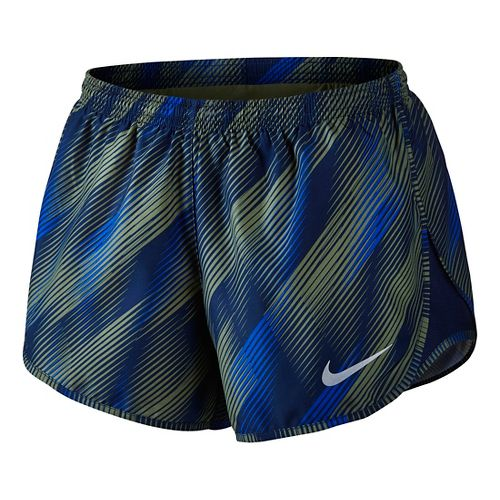 Womens Nike Dry Printed Tempo Lined Shorts - Palm Green/Binary M