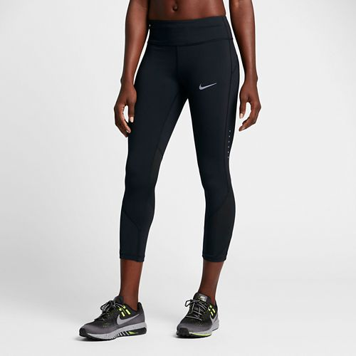 Womens Nike Power Epic Lux Crop Mesh Capris Tights - Black XS