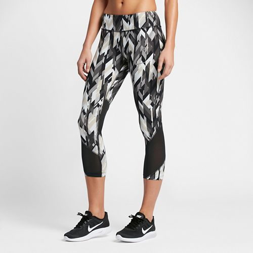 Womens Nike Power Epic Lux Crop Printed Capris Tights - Black XL