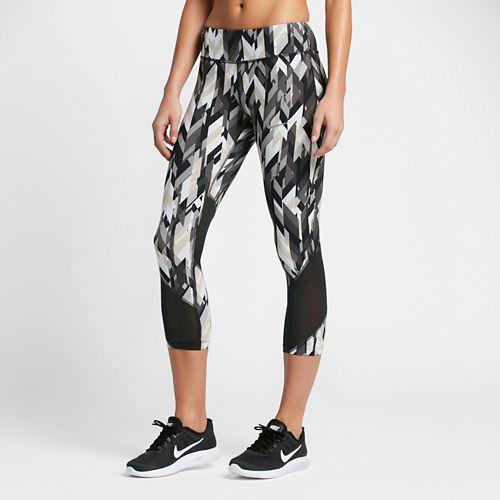 Womens Nike Power Epic Lux Crop Printed Capris Tights - Black L