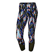 Womens Nike Power Epic Lux Crop Printed Capris Tights - Legion Green XL