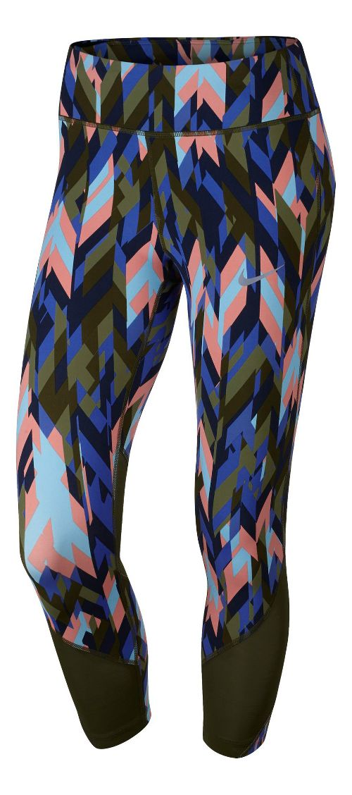 Womens Nike Power Epic Lux Crop Printed Capris Tights - Legion Green L