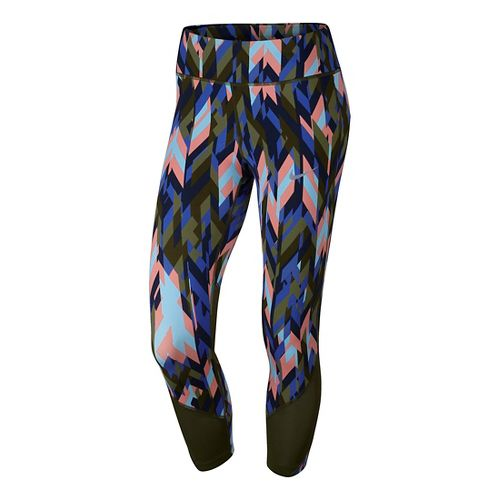 Womens Nike Power Epic Lux Crop Printed Capris Tights - Legion Green M