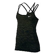Womens Nike Dri-FIT Knit Sleeveless & Tank Technical Tops - Black/Legion Green L
