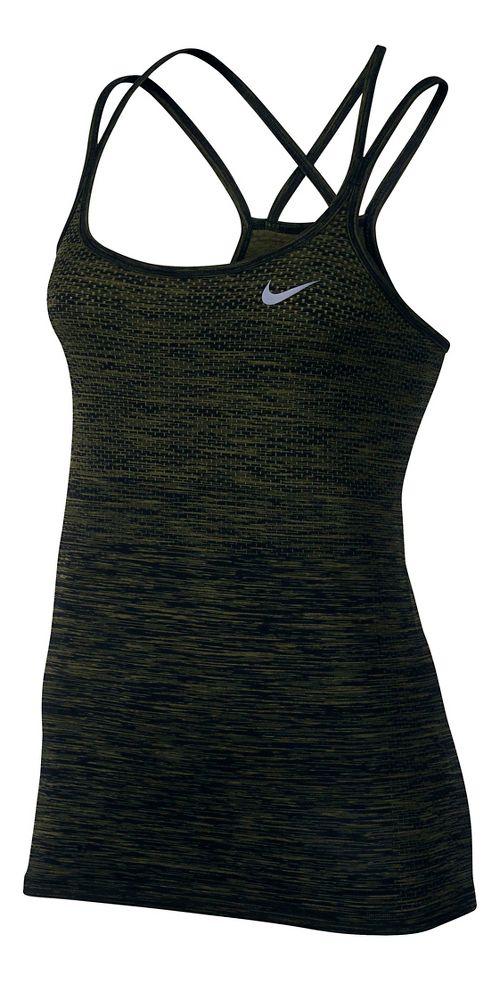 Womens Nike Dri-FIT Knit Sleeveless & Tank Technical Tops - Black/Legion Green L
