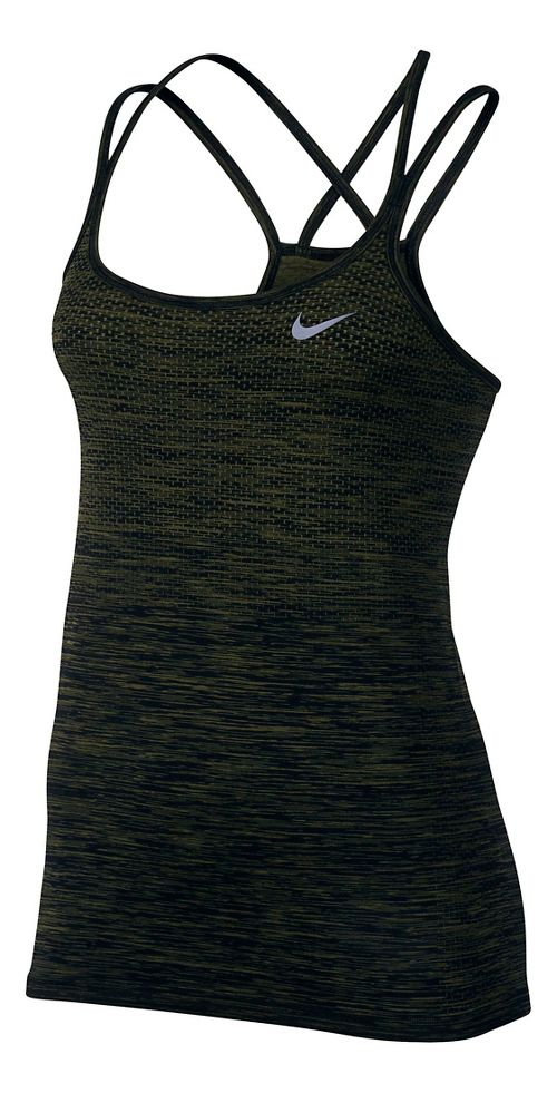Womens Nike Dri-FIT Knit Sleeveless & Tank Technical Tops - Black/Legion Green M