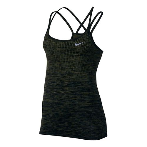 Womens Nike Dri-FIT Knit Sleeveless & Tank Technical Tops - Black/Legion Green XS