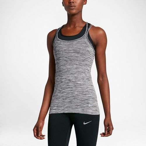 Womens Nike Dri-FIT Knit Sleeveless & Tank Technical Tops - Black/Heather M