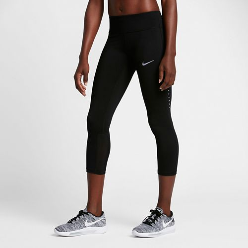 Womens Nike Power Epic Run Crop Capris Tights - Black S