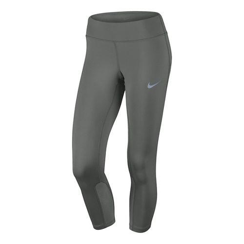 Womens Nike Power Epic Run Crop Capris Tights - Tumbled Grey L