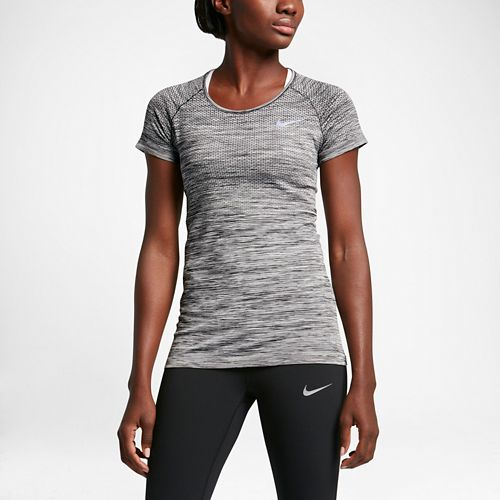 Womens Nike Dri-FIT Knit Short Sleeve Technical Tops - Black/Heather S