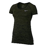 Womens Nike Dri-FIT Knit Short Sleeve Technical Tops - Black/Legion Green XL