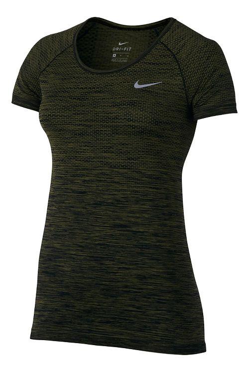 Womens Nike Dri-FIT Knit Short Sleeve Technical Tops - Black/Legion Green L