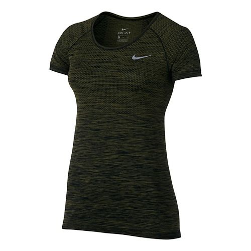 Womens Nike Dri-FIT Knit Short Sleeve Technical Tops - Black/Legion Green L