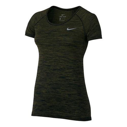 Womens Nike Dri-Fit Knit Short Sleeve Technical Tops - Black/Legion Green M