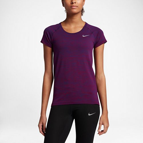 Womens Nike Dri-FIT Knit Short Sleeve Technical Tops - Binary Blue L