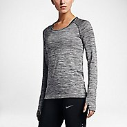 Womens Nike Dri-Fit Knit Long Sleeve Technical Tops - Black/Heather L