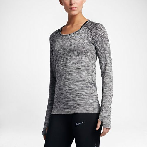 Womens Nike Dri-Fit Knit Long Sleeve Technical Tops - Black/Heather L