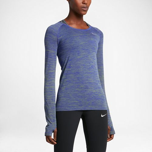 Womens Nike Dri-Fit Knit Long Sleeve Technical Tops - Palm Green/Paramount M
