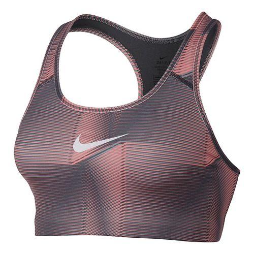Womens Nike Pro Classic Swoosh Pyramid Sports Bra - Lava Glow/Dark Grey L