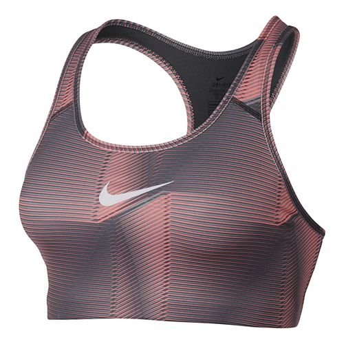 Womens Nike Pro Classic Swoosh Pyramid Sports Bra - Lava Glow/Dark Grey S
